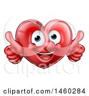 Happy Red Love Heart Character Giving Two Thumbs Up