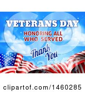 Poster, Art Print Of 3d Waving American Flag With Veterans Day Honoring All Who Served Thank You Text And Blue Sky
