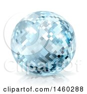 Clipart Of A Sparkly Blue Disco Mirror Ball On A Shaded White Background Royalty Free Vector Illustration