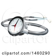 3d Medical Stethoscope With A Clock