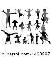 Silhouetted Boys And Girls Playing