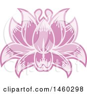 Clipart Of A Purple Blooming Flower Royalty Free Vector Illustration by AtStockIllustration