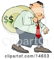 Greedy Businessman Carrying A Heavy Sack Of Money On His Back Clipart Illustration