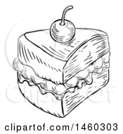 Clipart Of A Black And White Vintage Engraved Slice Of Jam And Cream Victoria Sponge Cake Royalty Free Vector Illustration