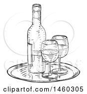 Clipart Of A Black And White Vintage Engraved Wine Bottle And Glasses Royalty Free Vector Illustration