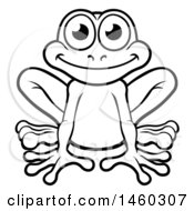Clipart Of A Black And White Happy Frog Royalty Free Vector Illustration by AtStockIllustration