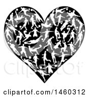 Clipart Of A Heart Made Of White Silhouetted Soccer Players In Action Royalty Free Vector Illustration