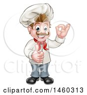 Cartoon Full Length Happy White Male Chef Gesturing Ok And Giving A Thumb Up