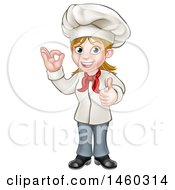 Cartoon Full Length Happy White Female Chef Gesturing Ok And Giving A Thumb Up