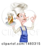 Clipart Of A White Male Chef With A Curling Mustache Holding A Souvlaki Kebab Sandwich On A Tray And Gesturing Perfect Royalty Free Vector Illustration by AtStockIllustration