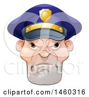 Clipart Of A Tough And Angry White Male Police Officer Royalty Free Vector Illustration