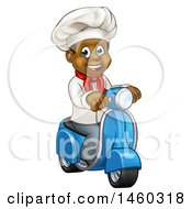 Cartoon Happy Black Male Chef Riding A Scooter