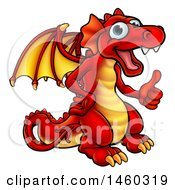June 18th, 2017: Clipart Of A Cartoon Red Dragon Giving A Thumb Up Royalty Free Vector Illustration by AtStockIllustration