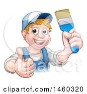 Cartoon Happy White Male Painter Holding Up A Brush And Giving A Thumb Up