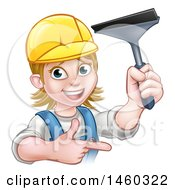 Clipart Of A Cartoon Happy White Female Window Cleaner In Blue Pointing And Holding A Squeegee Royalty Free Vector Illustration
