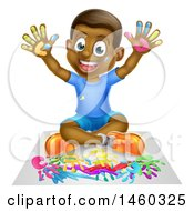 Clipart Of A Cartoon Happy Black Boy Kneeling And Painting Artwork With His Hands Royalty Free Vector Illustration