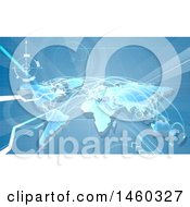 Clipart Of A Blue World Map With Flight Paths Royalty Free Vector Illustration by AtStockIllustration