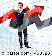 Business Man Standing With Folded Arms In Front Of Stock Market Arrows