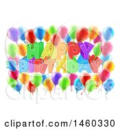 Clipart Of A 3d Colorful Happy Birthday Greeting With Confetti Ribbons And Party Balloons Royalty Free Vector Illustration