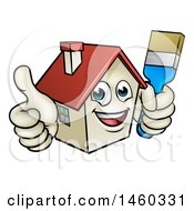 Poster, Art Print Of Cartoon Happy Home Mascot Character Giving A Thumb Up And Holding A Paintbrush