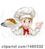 Clipart Of A Cartoon Happy White Female Chef Holding A Kebab On A Tray And Gesturing Perfect Royalty Free Vector Illustration by AtStockIllustration