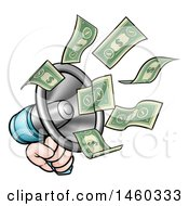 Cartoon Hand With Money Flying Out Of A Megaphone
