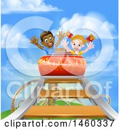 Poster, Art Print Of Happy White Girl And Black Boy At The Top Of A Roller Coaster Ride Against A Blue Sky With Clouds