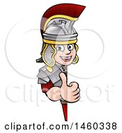 Poster, Art Print Of Cartoon Happy Roman Soldier Giving A Thumb Up Around A Sign
