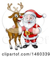 Christmas Reindeer With Santa Holding A Thumb Up