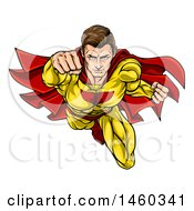 Clipart Of A Pop Art Comic Caucaslan Male Super Hero Flying Forward Royalty Free Vector Illustration by AtStockIllustration