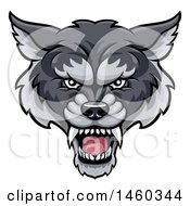 Clipart Of A Gray Wolf Mascot Head Royalty Free Vector Illustration