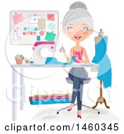 Clipart Of A Happy Silver Haired Caucasian Female Fashion Designer Sewing A Dress Royalty Free Vector Illustration