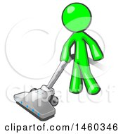 Lime Green Man Cleaning With A Canister Vacuum