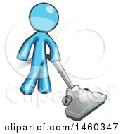 Poster, Art Print Of Light Blue Man Cleaning With A Canister Vacuum