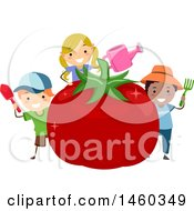 June 19th, 2017: Clipart Of A Group Of Children Holding Gardening Tools Around A Giant Tomato Royalty Free Vector Illustration by BNP Design Studio