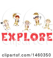 Clipart Of A Group Of Children Jumping Over The Word Explore Royalty Free Vector Illustration by BNP Design Studio