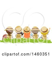 Clipart Of A Rear View Of Sitting Explorer Children Royalty Free Vector Illustration by BNP Design Studio