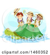 Clipart Of A Group Of Explorer Children Riding On A Turtle Royalty Free Vector Illustration by BNP Design Studio