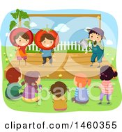 Clipart Of A Group Of Children Watching A Gardening Play Royalty Free Vector Illustration by BNP Design Studio