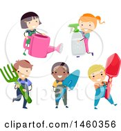 Clipart Of A Group Of Children With Gardening Tools Royalty Free Vector Illustration