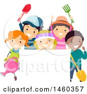 Clipart Of A Group Of Children With Gardening Tools Around A Blank Sign Royalty Free Vector Illustration