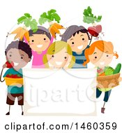 Poster, Art Print Of Group Of Children With Harvested Produce Around A Blank Sign