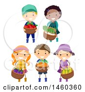 Poster, Art Print Of Group Of Children Carrying Baskets Full Of Harvested Produce