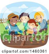 Poster, Art Print Of Group Of Children Harvesting A Vegetable Garden
