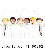 Poster, Art Print Of Group Of Children In Science Lab Gear Around A Blank Sign
