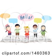 Poster, Art Print Of Group Of Children Speaking On Top Of An Open Book