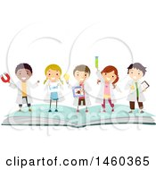 Clipart Of A Group Of Children In Science Lab Gear Standing On Top Of An Open Book Royalty Free Vector Illustration