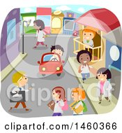 Clipart Of A City Street Of Busy School Children Royalty Free Vector Illustration