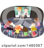 Clipart Of A Group Of Children Watching A Science Experiment Video Royalty Free Vector Illustration