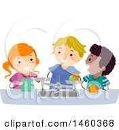 Clipart Of A Group Of Children Measuring With A Scale Royalty Free Vector Illustration by BNP Design Studio